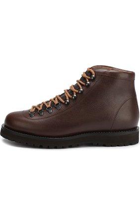 Мужские высокие кожаные ботинки на шнуровке BRUNELLO CUCINELLI коричневого цвета, арт. MZUKABH920 | Фото 3 (Мужское Кросс-КТ: Хайкеры-обувь, Ботинки-обувь; Статус проверки: Проверено, Проверена категория; Подошва: Плоская)