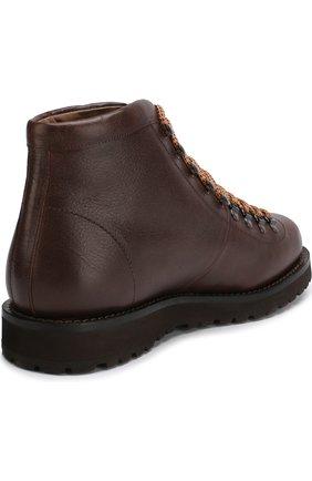 Мужские высокие кожаные ботинки на шнуровке BRUNELLO CUCINELLI коричневого цвета, арт. MZUKABH920 | Фото 4 (Мужское Кросс-КТ: Хайкеры-обувь, Ботинки-обувь; Статус проверки: Проверено, Проверена категория; Подошва: Плоская)