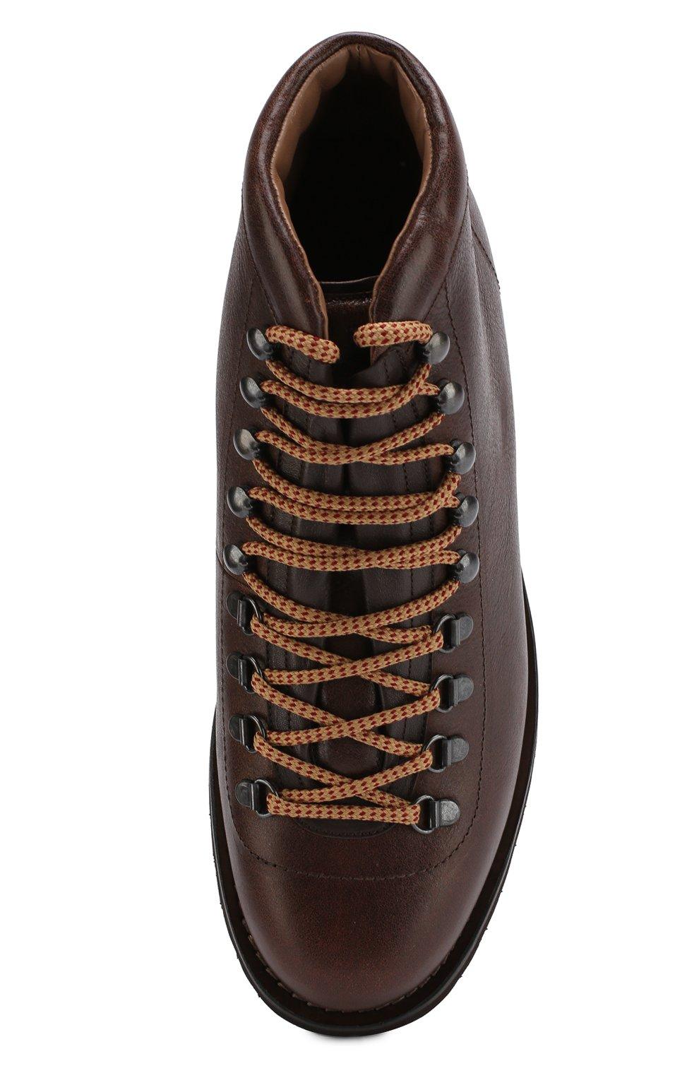 Мужские высокие кожаные ботинки на шнуровке BRUNELLO CUCINELLI коричневого цвета, арт. MZUKABH920 | Фото 5 (Мужское Кросс-КТ: Хайкеры-обувь, Ботинки-обувь; Статус проверки: Проверено, Проверена категория; Подошва: Плоская)