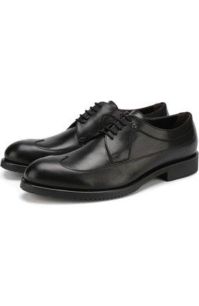 Кожаные дерби на шнуровке Aldo Brue коричневые | Фото №1
