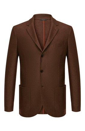 Мужской пиджак из смеси шелка и кашемира LORO PIANA коричневого цвета, арт. FAI2572 | Фото 1