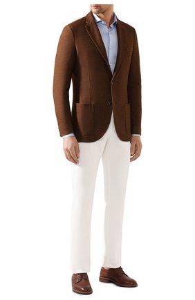 Мужской пиджак из смеси шелка и кашемира LORO PIANA коричневого цвета, арт. FAI2572 | Фото 2