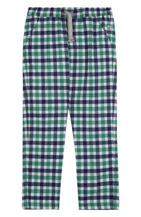 Детские брюки прямого кроя с поясом на кулиске Il Gufo зеленого цвета | Фото №1