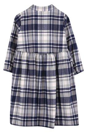 Детское платье-рубашка свободного кроя  Il Gufo синего цвета | Фото №1