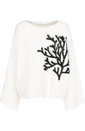 Шерстяной пуловер с декоративной отделкой Oscar de la Renta белый | Фото №1