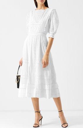 Однотонное платье-миди из хлопка Polo Ralph Lauren белое | Фото №1