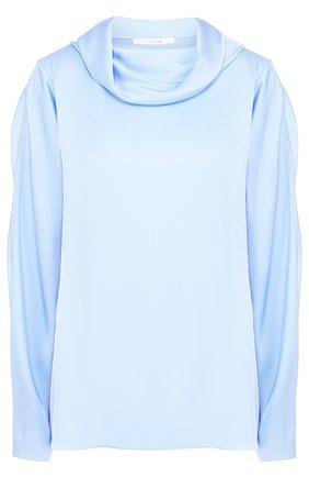 Женская однотонная шелковая блуза свободного кроя The Row, цвет голубой, арт. 4054W992 в ЦУМ | Фото №1