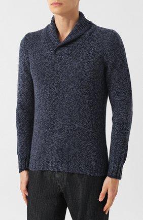 Шерстяной свитер с шалевым воротником   Фото №3