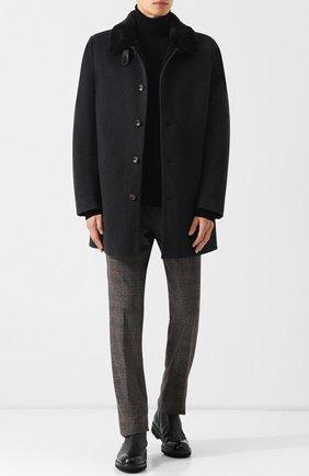 Пальто из смеси шерсти и кашемира с подкладкой из меха кролика Gimo's темно-серого цвета | Фото №1