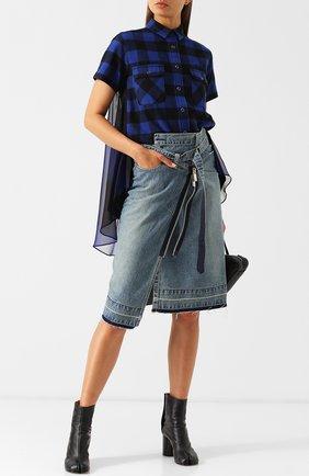 Женская хлопковая блуза с коротким рукавом в клетку Sacai, цвет синий, арт. 18-03963 в ЦУМ   Фото №1