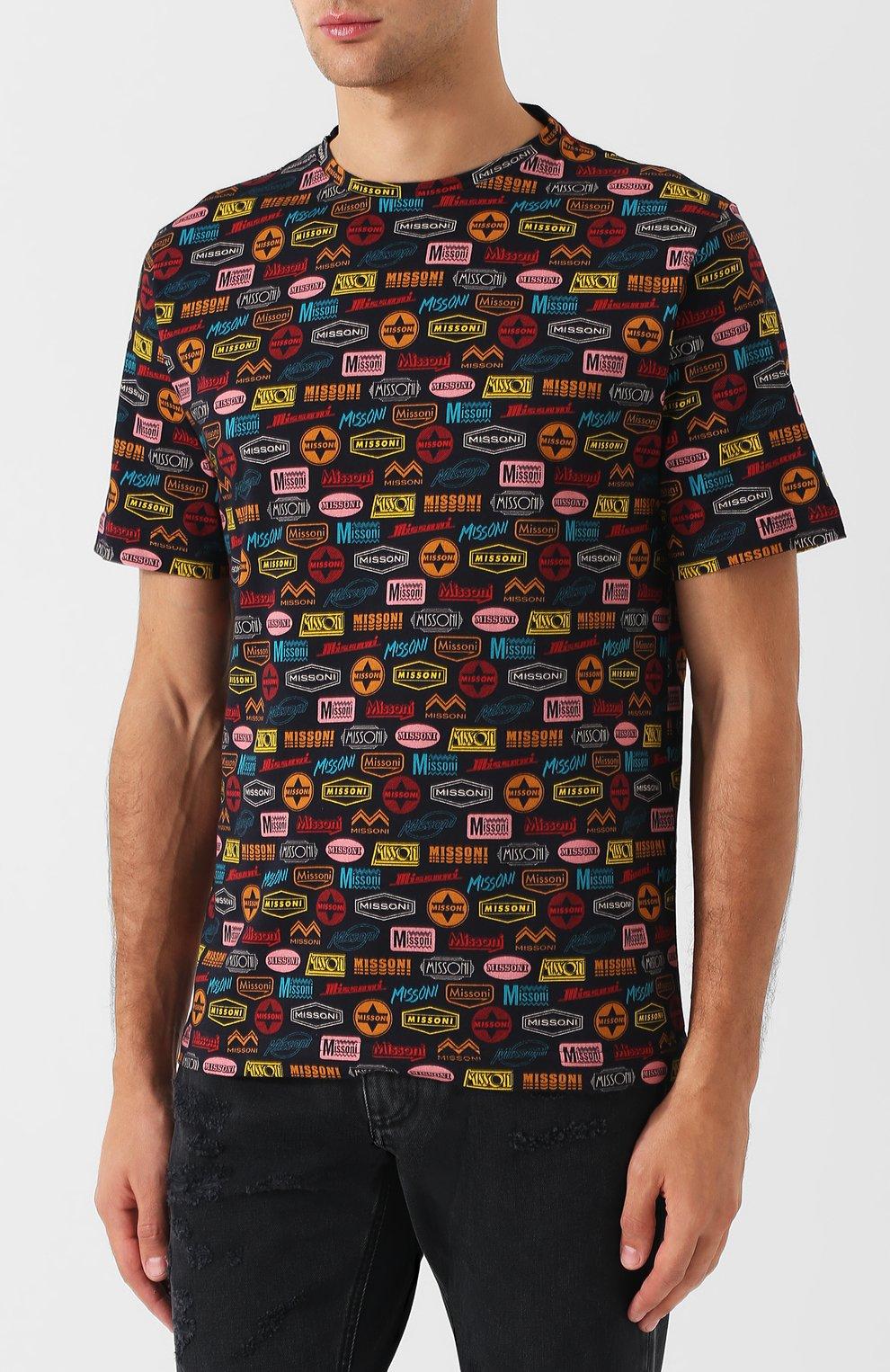 Хлопковая футболка с принтом   Фото №3