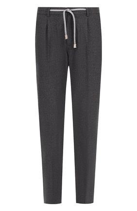 Шерстяные брюки прямого кроя с поясом на резинке Eleventy UOMO серые   Фото №1