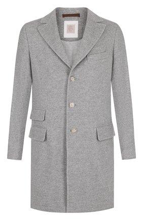Однобортное кашемировое пальто с отложным воротником Eleventy Platinum синего цвета | Фото №1
