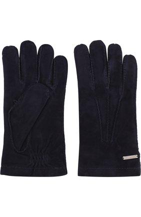 Мужские замшевые перчатки CORNELIANI темно-синего цвета, арт. 82Q301-8820595/00 | Фото 2