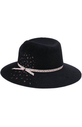 Шляпа Virginie с декоративной отделкой Maison Michel темно-синего цвета | Фото №1