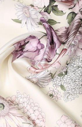 Шелковый платок с цветочным принтом Emilio Conte светло-розовый   Фото №1