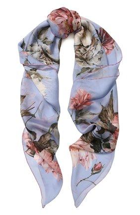 Шелковый платок с цветочным принтом | Фото №1