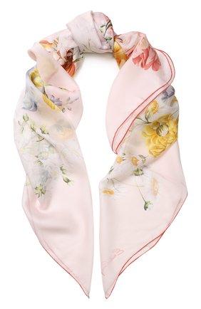 Шелковый платок с цветочным принтом Emilio Conte черный   Фото №1