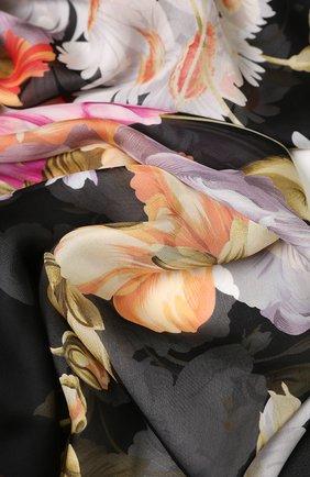 Женский шелковый платок с цветочным принтом EMILIO CONTE черного цвета, арт. K01414 SF081 | Фото 2