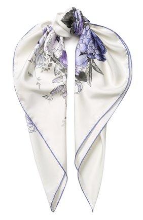 Шелковый платок с цветочным принтом Emilio Conte светло-голубой   Фото №1