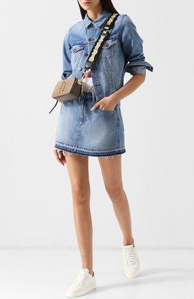 Джинсовая мини-юбка с потертостями Marc Jacobs синяя | Фото №1