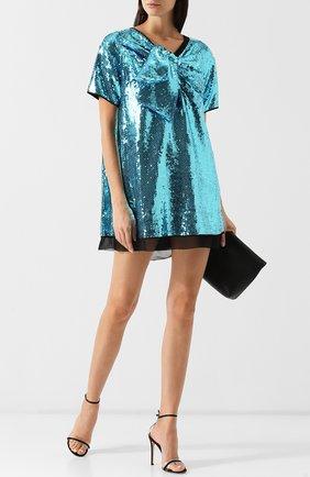 Мини-платье с пайетками Marc Jacobs бирюзовое | Фото №1