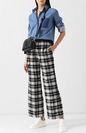Шелковые брюки в клетку с эластичным поясом Marc Jacobs черно-белые | Фото №1