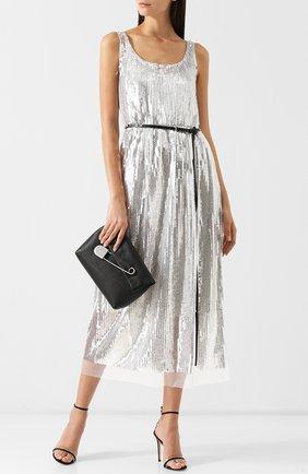 Платье-миди с контрастным поясом и пайетками Marc Jacobs серебряное | Фото №1
