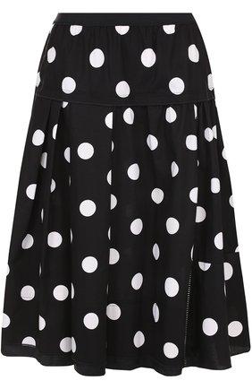 Хлопковая юбка с эластичным поясом в горох Marc Jacobs черно-белая | Фото №1
