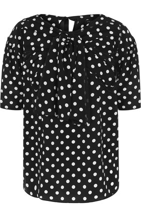 Шелковый топ в горох Marc Jacobs черно-белый | Фото №1