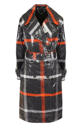 Хлопковое пальто с поясом и прозрачной отделкой Marc Jacobs разноцветного цвета | Фото №1