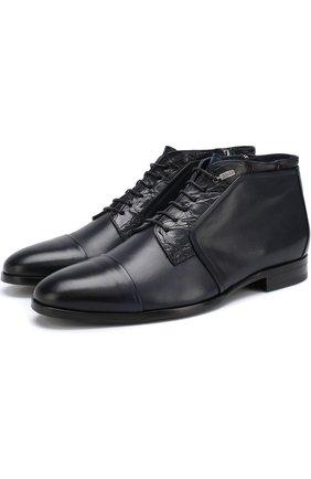 Кожаные ботинки с отделкой из кожи каймана   Фото №1