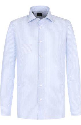 Хлопковая сорочка с воротником кент Luigi Borrelli голубая | Фото №1