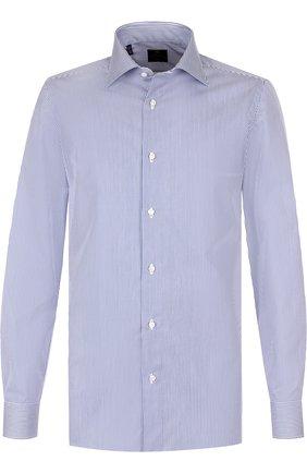 Хлопковая сорочка с воротником кент Luigi Borrelli синяя | Фото №1