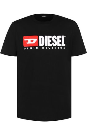 Хлопковая футболка  Diesel черная | Фото №1