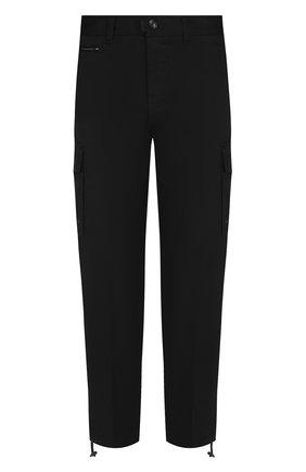 Хлопковые укороченные брюки прямого кроя Diesel черные | Фото №1