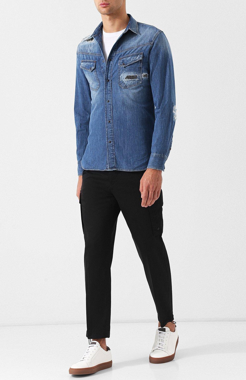 Хлопковые укороченные брюки прямого кроя Diesel черные | Фото №2