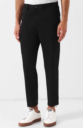 Хлопковые укороченные брюки прямого кроя Diesel черные | Фото №3