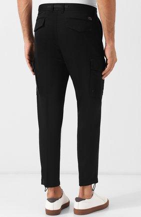 Хлопковые укороченные брюки прямого кроя Diesel черные | Фото №4