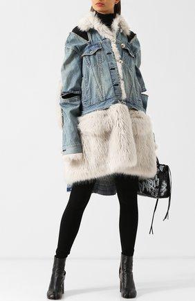 Джинсовое пальто с меховой отделкой Sacai голубого цвета   Фото №1