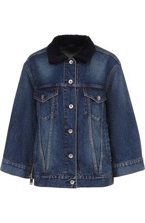 Джинсовая куртка с потертостями и накладными карманами Sacai голубая   Фото №1