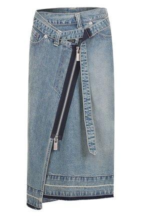 Джинсовая юбка-миди асимметричного кроя Sacai голубая   Фото №1