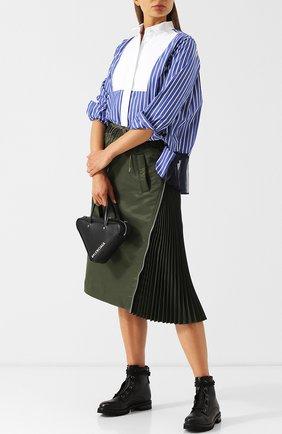 Однотонная юбка-миди с эластичным поясом Sacai хаки   Фото №1