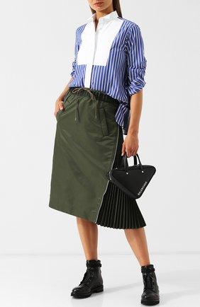 Женская блуза в полоску с контрастной отделкой Sacai, цвет голубой, арт. 18-03987 в ЦУМ   Фото №1