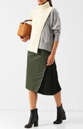 Шерстяной пуловер с воротником-стойкой Sacai белый   Фото №1