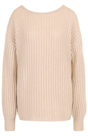 Вязаный кашемировый пуловер со спущенным рукавом FTC серый   Фото №1