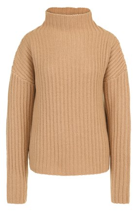 Кашемировый пуловер со спущенным рукавом и воротником-стойкой FTC коричневый   Фото №1
