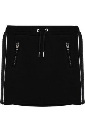 Хлопковая мини-юбка с поясом на кулиске | Фото №1
