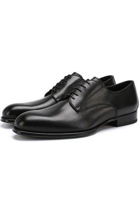 Кожаные дерби на шнуровке W.Gibbs черные   Фото №1