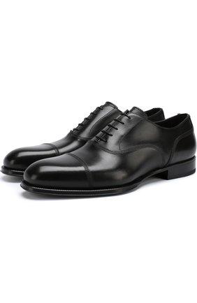 Кожаные оксфорды на шнуровке W.Gibbs черные   Фото №1